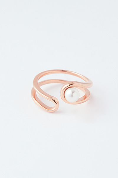 Pearl in Double Line Open Ring (소이현,솔빈,백지영,오나라,김지인,케이 착용)
