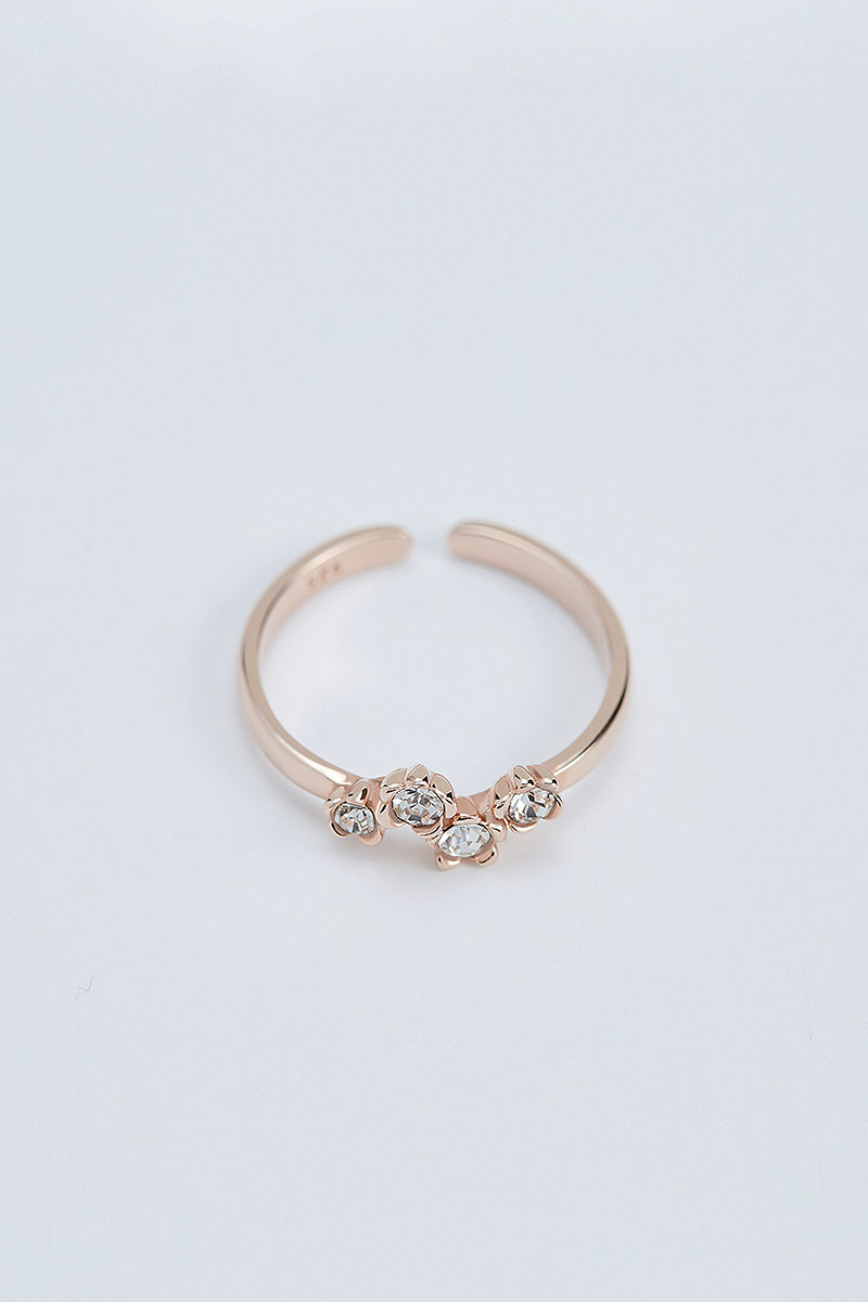 Flower Stone Open Ring